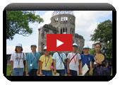La memoria ceremonia niño expedición estandarte de paz del shi de Hiroshima